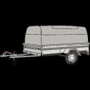 Släpvagn med Alu kåpa, totalvikt 1250 kg, bromsad